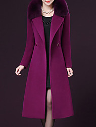 cheap -Women's Plus Size Coat - Solid Colored Peter Pan Collar