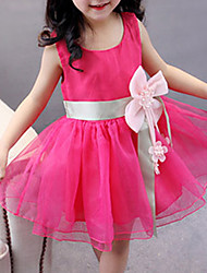 cheap -Girl's Daily Going out Holiday Solid Dress, Spandex Summer Sleeveless Bow Green Blushing Pink Purple Yellow Fuchsia