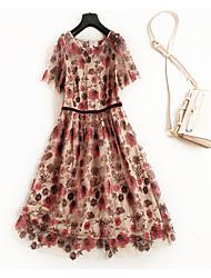 abordables -Femme simple Rétro Tee Shirt Balançoire Robe - Brodée, Fleur Midi