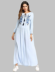 cheap -Women's Cotton Tunic Dress - Solid Colored Embroidered Maxi