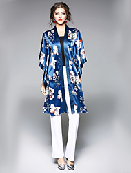cheap -Women's Basic Chinoiserie Trench Coat-Floral Print,Print