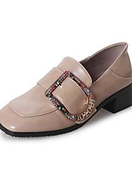 abordables -Femme Chaussures Gomme Printemps Automne Confort Mocassins et Chaussons+D6148 Talon Bottier pour De plein air Blanc Noir Kaki
