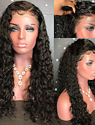 baratos -Cabelo Remy Peruca Cabelo Brasileiro Encaracolado 130% Densidade Com Baby Hair Com nós descorados Não processado Peruca Afro Americanas