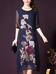cheap -Women's Street chic Chiffon Dress - Floral, Print