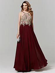 cheap -A-Line Y Neck Floor Length Chiffon / Lace Formal Evening / Holiday Dress with Appliques by TS Couture® / Keyhole