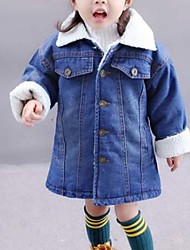 cheap -Girls' Solid Jacket & Coat Winter Fall Long Sleeves Blue