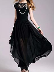 abordables -Femme Coton Trapèze Robe - Plissé, Couleur Pleine Mi-long Noir