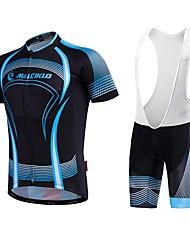 economico -Malciklo Maglia con salopette corta da ciclismo - Bianco Nero Bicicletta Salopette Maglietta/Maglia, Asciugatura rapida, Design