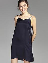 Недорогие -Жен. Классический Прямое Платье - Однотонный На бретелях До колена