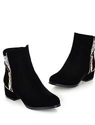 povoljno -Žene Cipele Flis Jesen Zima Čizmice Čizme Blok pete Krakova Toe Čizme gležnjače / do gležnja Šljokice za Kauzalni Crn