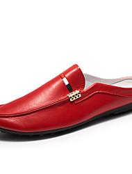 お買い得  -男性用 靴 レザーレット 春 夏 ダイビングシューズ コンフォートシューズ ローファー&スリップアドオン のために カジュアル アウトドア ホワイト ブラック レッド