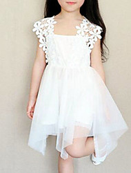cheap -Girl's Daily Solid Dress, Cotton Polyester Summer Sleeveless Lace White