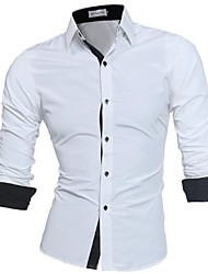 cheap -Men's Business Basic Plus Size Slim Shirt - Solid Colored Button Down Collar
