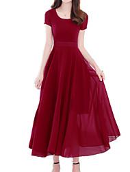 abordables -Mujer Tallas Grandes Festivos Sofisticado / Boho Delgado Vaina / Corte Swing Vestido Un Color Midi Escote en U Rojo