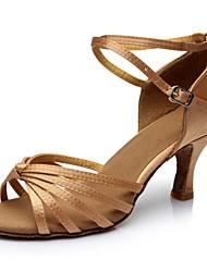 cheap -Women's Latin Shoes Satin Sandal / Heel Splicing Customized Heel Customizable Dance Shoes Nude / Indoor