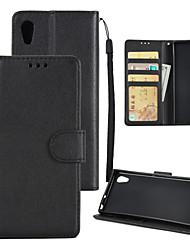 Недорогие -Кейс для Назначение Sony Xperia XA1 Plus / Xperia XA1 Кошелек / Бумажник для карт / Защита от удара Чехол Однотонный Твердый Кожа PU для Sony Xperia XZ / Sony Xperia XA1 Ultra / Xperia XA1 Plus