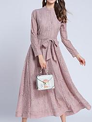 baratos -Mulheres Moda de Rua Delgado Bainha / balanço Vestido Sólido Cintura Alta Longo / Primavera