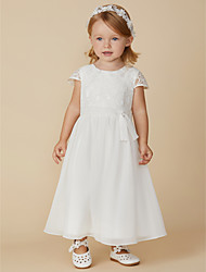 cheap -Sheath / Column Ankle Length Flower Girl Dress - Chiffon / Lace Short Sleeve Jewel Neck with Sash / Ribbon by LAN TING BRIDE®