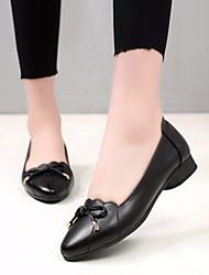 Недорогие -Жен. Обувь Кожа Весна / Осень Удобная обувь На плокой подошве На низком каблуке Черный / Желтый / Светло-серый