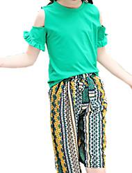 abordables -Fille Quotidien Imprimé Ensemble de Vêtements, Polyester Printemps Eté Manches Courtes Bohème Vert Jaune