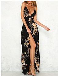 cheap -Women's Going out Holiday Street chic Slim Sheath Swing Dress - Floral High Waist Maxi Strap Strapless Off Shoulder Deep V