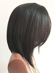 abordables -Sin procesar Peluca Cabello Peruano Recto Bob corto Corte Bob 130% Densidad Con Baby Hair Entradas Naturales Negro 8-14 Mujer Pelucas de