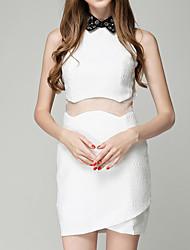 preiswerte -Damen Schlank A-Linie Kleid - Gitter, Solide Mini Hemdkragen