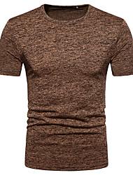 baratos -Homens Camiseta Moda de Rua Com Transparência, Sólido