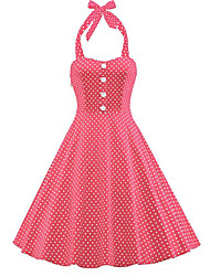 baratos -Mulheres Moda de Rua balanço Vestido Poá Altura dos Joelhos