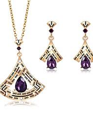 baratos -Mulheres Zircônia Cubica Zircão / Chapeado Dourado Conjunto de jóias 1 Colar / Brincos - Formal / Roupas de Festa Forma Geométrica Dourado