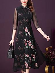 baratos -Mulheres Tamanhos Grandes Moda de Rua balanço Vestido - Estampado, Floral Colarinho Chinês Longo Médio Preto