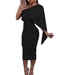 abordables -Femme Sophistiqué Coton Mince Gaine Robe Couleur Pleine Taille haute Epaules Dénudées Midi / Eté