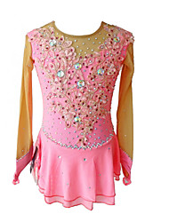 Недорогие -Платье для фигурного катания Жен. Девочки Катание на коньках Платья Розовый Цветы Спандекс Соревнование Одежда для фигурного катания Пайетки Без рукавов Фигурное катание