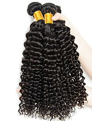 baratos -3 pacotes Cabelo Brasileiro Encaracolado / Onda Profunda Cabelo Humano Presentes / Ponta de Estoque / Extensões de Cabelo Natural Tramas de cabelo humano Venda imperdível / Para Mulheres Negras