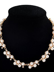 preiswerte -Damen Perle Diamantimitate Perlen-Strang Statement Ketten  -  nette Art Kreisförmig Weiß 40+5cm Modische Halsketten Für Party