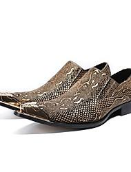 Недорогие -Муж. Обувь для новинок Наппа Leather Весна / Осень Винтаж Туфли на шнуровке Для прогулок Золотой