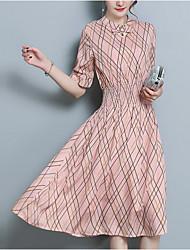 Недорогие -Жен. Уличный стиль Оболочка Платье - Контрастных цветов Средней длины