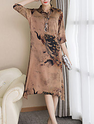 preiswerte -Damen Seide Schlank Hülle Kleid Blumen Midi Hemdkragen