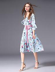 abordables -Femme Grandes Tailles Mignon Manches Evasées Mince Trapèze Mousseline de Soie Robe - Noeud Imprimé, Fleur Taille haute Col en V Mi-long