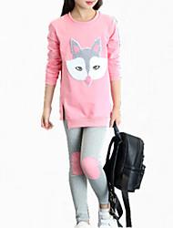 preiswerte -Mädchen Kleidungs Set Alltag Stickerei Baumwolle Frühling Herbst Ganzjährig Langarm Streifen Orange Rosa