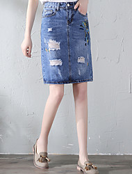 cheap -Women's Street chic Denim Pencil Skirts - Solid Colored