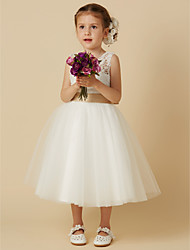 cheap -Princess Tea Length Flower Girl Dress - Lace Tulle Sleeveless Jewel Neck with Bow(s) Sash / Ribbon by LAN TING BRIDE®