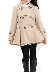cheap -Girls' Solid Trench Coat, Polyester Spring Fall Long Sleeves Pink Khaki