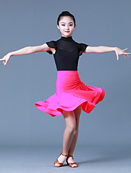 cheap -Latin Dance Outfits Girls' Training Rayon Split Joint Short Sleeves Natural Skirts Top