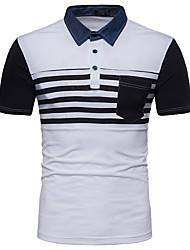 baratos -Homens Polo Negócio Moda de Rua Patchwork, Listrado Estampa Colorida Preto & Branco