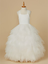 cheap -Ball Gown Ankle Length Flower Girl Dress - Lace Tulle Sleeveless Straps with Bow(s) by LAN TING BRIDE®