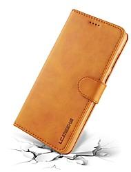 Недорогие -Кейс для Назначение Huawei Mate 10 pro / Mate 10 Кошелек / Бумажник для карт / Флип Чехол Однотонный Твердый Настоящая кожа для Mate 10 / Mate 10 pro / Mate 10 lite