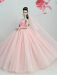 Недорогие -Платья Платье Для Barbiedoll Бледно-розовый Тюль / Кружево / Шелково-шерстяная ткань Платье Для Девичий игрушки куклы