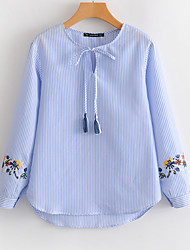 baratos -Mulheres Camisa Social Básico Bordado,Listrado