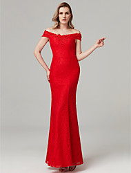 cheap -Sheath / Column Off Shoulder Floor Length All Over Floral Lace Formal Evening Dress with Beading by TS Couture®